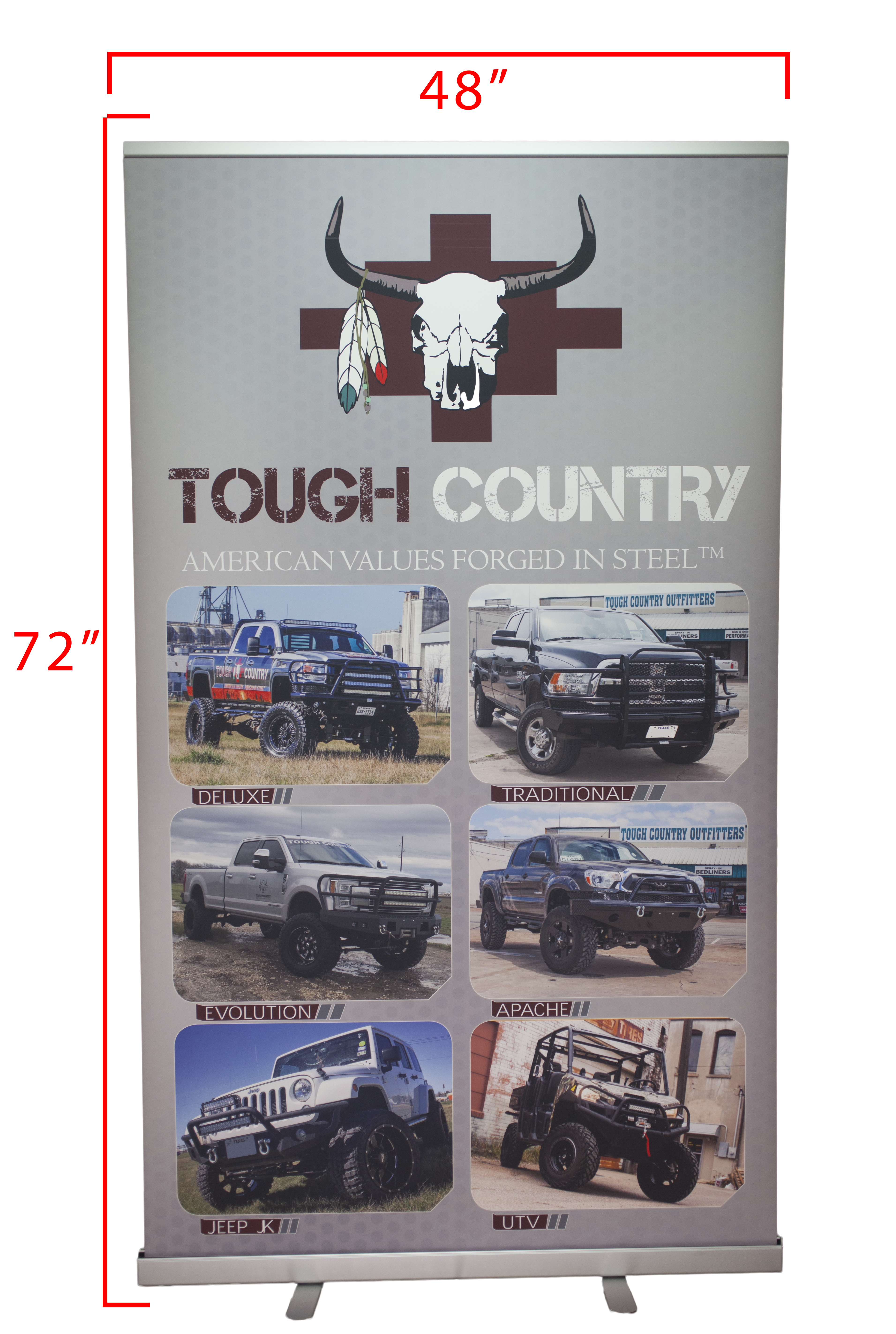 tough country banner and display